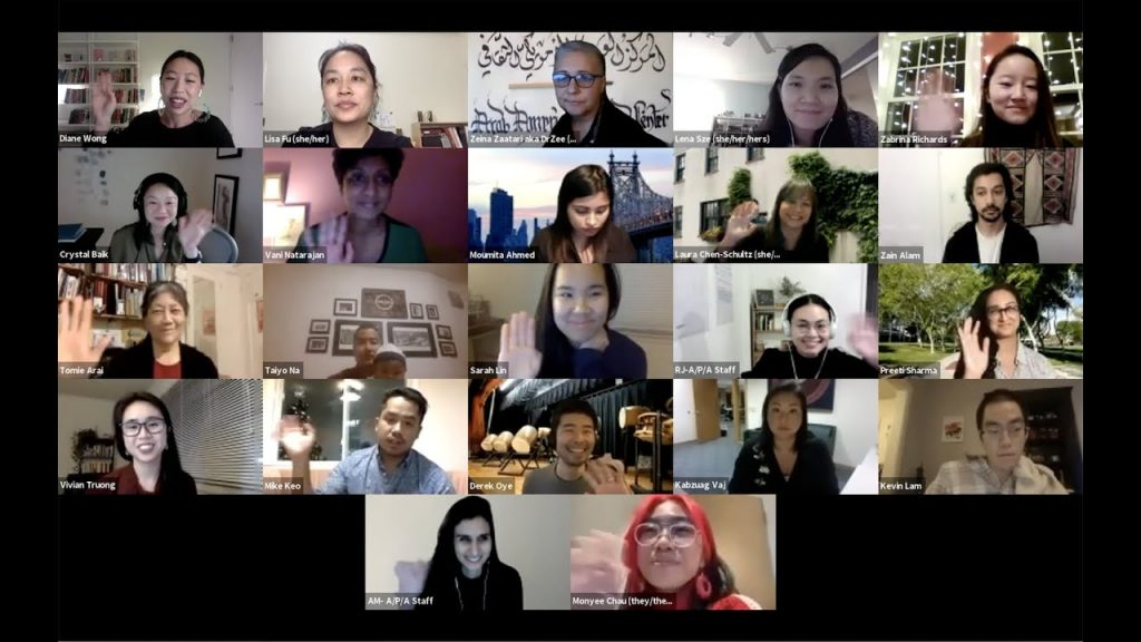 Screenshot of a zoom webinar featuring a number of A/P/A Voices volunteers.