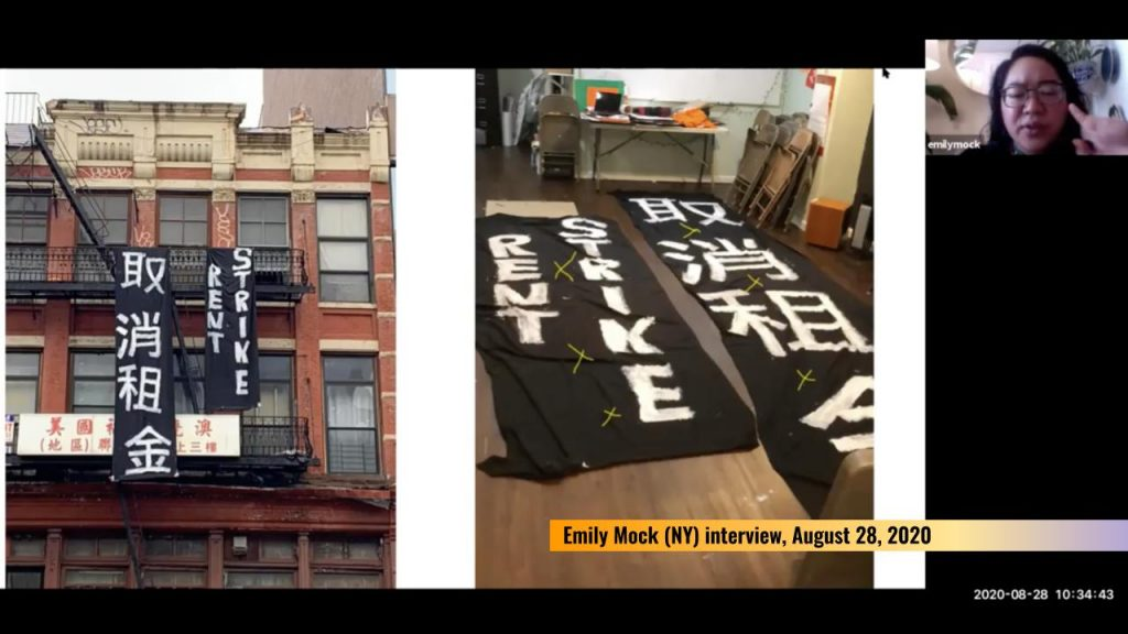 "Black banners that read ""RENT STRIKE"" in English and Mandarin outside a fire escape in Chinatown, NY"